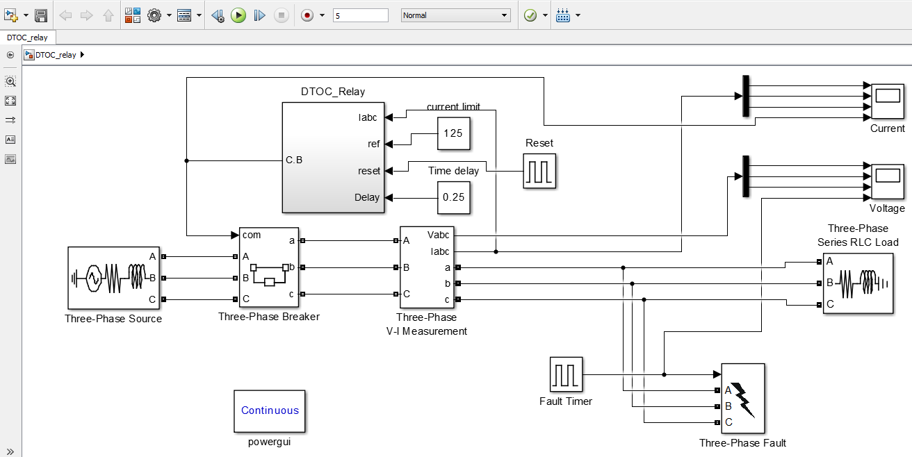Definite Time Overcurrentl Relay Block Diagram in Simulink
